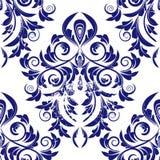 Nahtloser blauer Damast Lizenzfreie Stockbilder