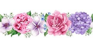 Nahtloser Blumenhintergrund in der Aquarellart lokalisiert auf Weiß Stockfotos
