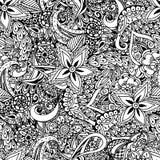 Nahtloser Blumenhintergrund Ethnisches Gekritzeldesignmuster Abstra Stockbild