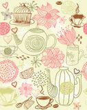 Nahtloser Blumenhintergrund mit Cup und Teekannen Stockbild