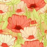 Nahtloser Blumenhintergrund mit Mohnblume blüht fiald Lizenzfreies Stockfoto