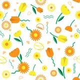 Nahtloser Blumenmusterhintergrund mit nettem Blumenvektor-DES Stockfoto