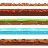 Nahtloser Boden und Landvektor stellten für UI-Spiele ein Lizenzfreies Stockbild