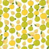 Nahtloser bunter Hintergrund gemacht von den Äpfeln und von den Birnen in flachem De Stockbild