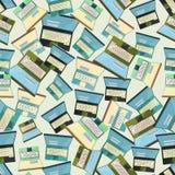 Nahtloser bunter Hintergrund gemacht von geöffneten Laptops im flachen desi Lizenzfreies Stockbild