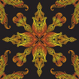 Nahtloser Chinese Muster des Neongoldblumenspitzemusters Stockbild