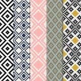 Nahtloser Diamond Square Check Mosaic Geometry-Hintergrund-Satz Stockfotografie