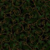 Nahtloser dunkelgrüner Damastmustermit blumenhintergrund Stockfotografie