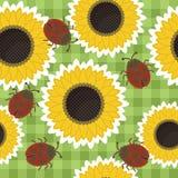 nahtloser Einklebebuchhintergrund mit Sonnenblumen stock abbildung