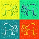 Nahtloser Elefant farbiger Hintergrund Auszug Lizenzfreies Stockfoto