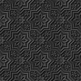Nahtloser eleganter dunkler Papiermuster 040 der kunst 3D Stern-Querblume Stockfoto
