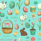 Nahtloser Farbmuster Ostern-Feiertag Stockfoto