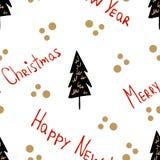Nahtloser festlicher Hintergrund mit dekorativen Weihnachtsb?umen und Beschriftung des neuen Jahres und des Weihnachten Vervollko lizenzfreie abbildung