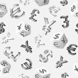 Nahtloser Finanzhintergrund mit Währungszeichen Dollar, Euro, Pfund, Yen, Yuan Auch im corel abgehobenen Betrag Stockbilder