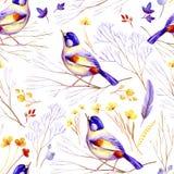 Nahtloser Flieder-gelber Vogel Stockfotos
