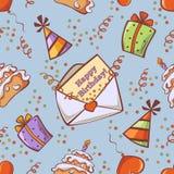 Nahtloser Geburtstagshintergrund mit Geschenk, Ballon, Kuchen, festlicher Kappe, Glückwunsch und Konfettis Stockfotografie