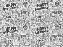 Nahtloser Gekritzel-Geburtstagsfeiermusterhintergrund Stockfotografie