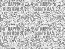 Nahtloser Gekritzel-Geburtstagsfeiermusterhintergrund Stockbilder