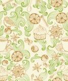 Nahtloser Gekritzelhintergrund für Teezeit Stockfoto