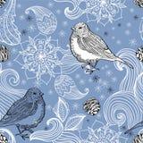 Nahtloser Gekritzelhintergrundvogel und Blumenelemente Lizenzfreies Stockbild