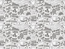 Nahtloser Gekritzelkaffee-Musterhintergrund Lizenzfreies Stockfoto