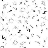Nahtloser Gekritzeltintenzeiger und Pfeilmuster stock abbildung