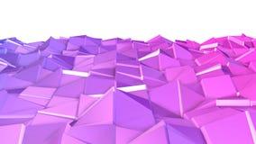 Nahtloser geometrischer Hintergrund 3d im modernen geometrischen Stil niedrig Poly mit hellen Steigungsfarben 4k säubern violette stock abbildung