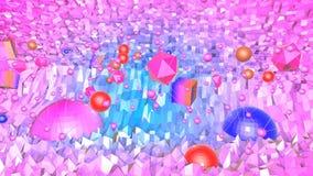 Nahtloser geometrischer Hintergrund 3d im modernen geometrischen Stil niedrig Poly mit hellen Steigungsfarben rotes sauberes nied vektor abbildung