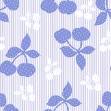 Nahtloser gestreifter blauer mit Blumenhintergrund stock abbildung