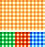 Nahtloser Gingham überprüfte Muster der Herbstfarben Stockbild