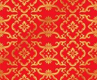 Nahtloser goldener chinesischer Hintergrund-botanische Kurven-Rahmen-Blume Stockbild