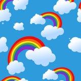 Nahtloser Himmel mit Regenbogen Stockbild