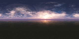 Nahtloser 360 Himmel-Panorama-Sonnenuntergang stock abbildung