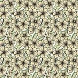 Nahtloser Hintergrund in den blühenden Schwarzweiss-Niederlassungen von Bäumen. Lizenzfreie Stockbilder