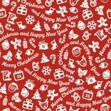 Nahtloser Hintergrund der frohen Weihnachten und des guten Rutsch ins Neue Jahr Stockfoto