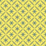 Nahtloser Hintergrund der gelben blauen Querlinie Blume Stockbild