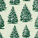 Nahtloser Hintergrund der gezogenen Weihnachtsbäume stock abbildung