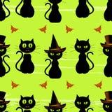 Nahtloser Hintergrund der Halloween-schwarzen Katze Lizenzfreie Stockfotos