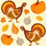 Nahtloser Hintergrund der Herbstdanksagung mit Truthahn, Frucht, Kürbis und Blättern, Illustration Stockfoto