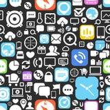 Nahtloser Hintergrund der grafischen Ikonen des Netzes Stockfotografie