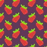 Nahtloser Hintergrund der isometrischen Erdbeere Lizenzfreie Stockfotos