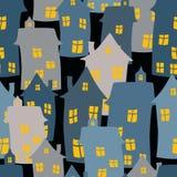 Nahtloser Hintergrund der Karikaturhäuser Lizenzfreies Stockbild
