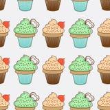 Nahtloser Hintergrund der kleinen Kuchen Lizenzfreie Stockfotos