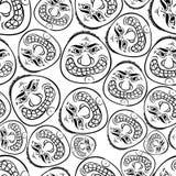 Nahtloser Hintergrund der lustigen Gesichter, Schwarzweiss-Linien vector Ca Stockfotos