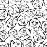 Nahtloser Hintergrund der lustigen Gesichter, Schwarzweiss-Linien vector Ca Lizenzfreies Stockfoto