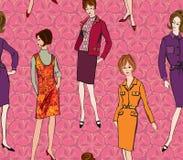 Nahtloser Hintergrund der Mode. sechziger Jahre Art Stockbild