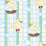 Nahtloser Hintergrund der netten Enten Stockfoto