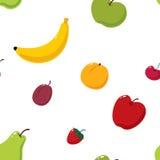 Nahtloser Hintergrund der netten Früchte Stockfotos