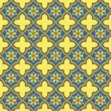 Nahtloser Hintergrund der orientalischen goldenen blauen Kurvenkreuzblume Lizenzfreie Stockfotografie