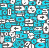 Nahtloser Hintergrund der Pfeile, Weiß, blau Lizenzfreie Stockfotografie
